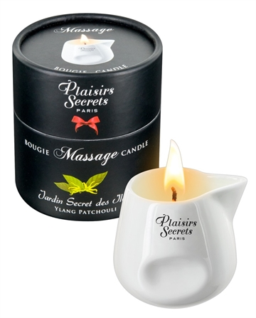 Plaisirs Secrets Ylang Patchouli massageolie lys