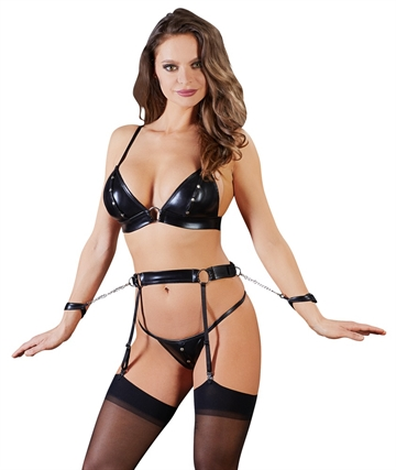 Cottelli Collection Bondage lingerie sæt med nitter