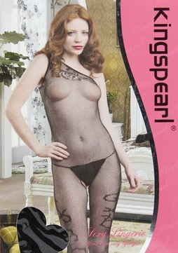 Kingspearl Sort asymmetrisk net bodystocking