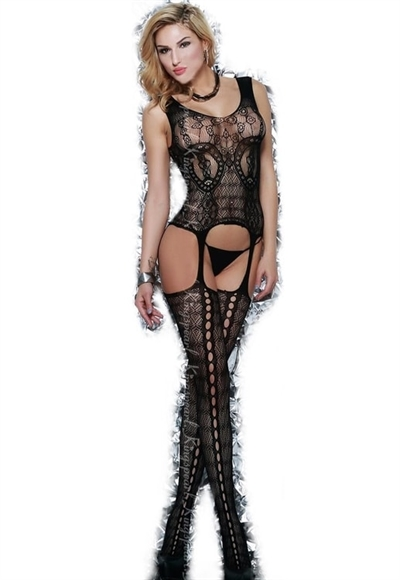 PARTISALG STR. XS TIL MEDIUM/LARGE Kingspearl Åben  bodystocking med luksus blonde