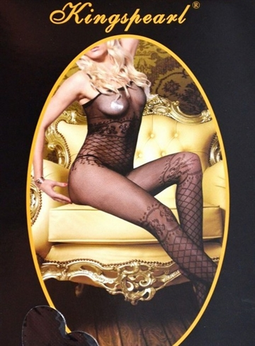 Kingspearl Sort klassisk net bodystocking med body og strømpe-look