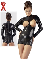 LateX langærmet peek-a-boob body