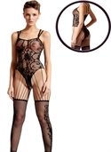Black floral vine bodystocking